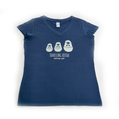 """Μπλούζα """"Ταξιδεύοντας, Ρουσία"""" γυναικεία denim blue"""